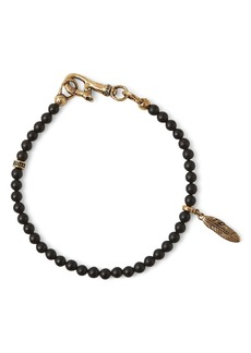 John Varvatos Collection Brass Mercer Onyx Beaded Feather Charm Bracelet