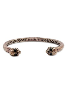 John Varvatos Collection Brass Skull & Daggers Black Diamond Skull Cuff Bracelet