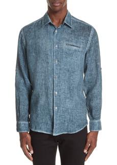 John Varvatos Collection Burnout Linen Shirt