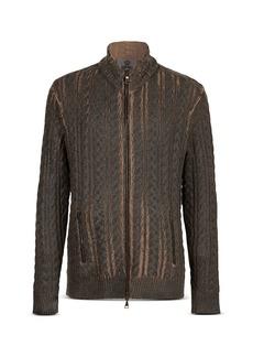 John Varvatos Collection Cable Knit Zip Up Sweater