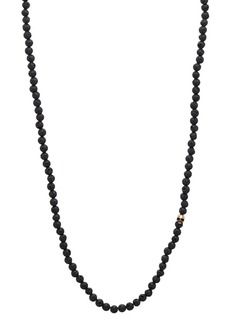 John Varvatos Collection Mercer Lava Bead & Brass Skull Necklace