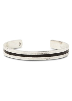 John Varvatos Collection Sterling Silver & Black Leather Cuff
