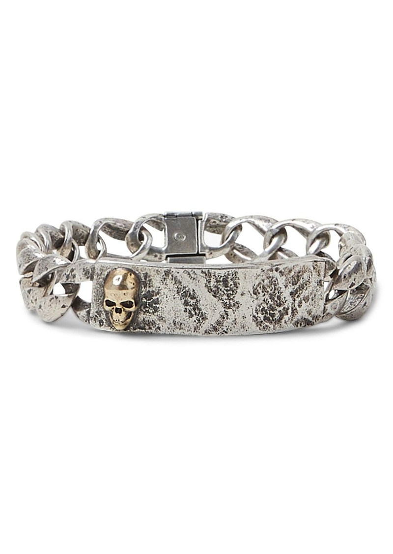 John Varvatos Collection Sterling Silver & Brass Skulls & Daggers I.D. Bracelet