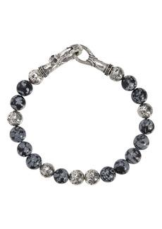 John Varvatos Collection Sterling Silver & Gray Obsidian Bead Bracelet