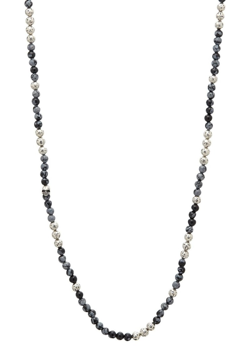 """John Varvatos Collection Sterling Silver & Gray Obsidian Bead Necklace, 24"""""""