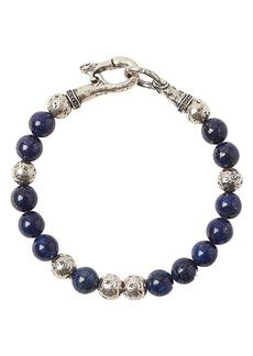 John Varvatos Collection Sterling Silver & Lapis Bead Bracelet