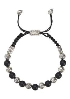 John Varvatos Collection Sterling Silver & Lava Distressed Bead Adjustable Bracelet