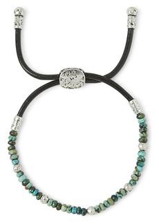 John Varvatos Collection Sterling Silver & Leather Mercer Turquoise Beaded Adjustable Bracelet