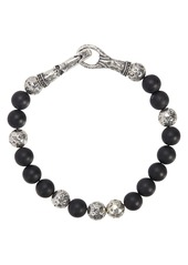 John Varvatos Collection Sterling Silver & Onyx Bead Bracelet