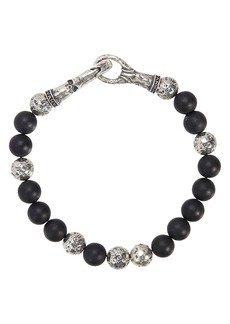 John Varvatos Collection Sterling Silver & Onyx Bead Bracelet