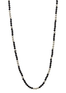 John Varvatos Collection Sterling Silver & Onyx Bead Necklace, 24""