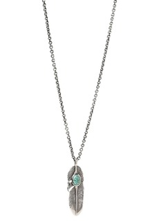 """John Varvatos Collection Sterling Silver Artisan Metals Feather Turquoise Pendant Necklace, 24"""""""