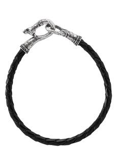 John Varvatos Collection Sterling Silver Braided Black Leather Bracelet