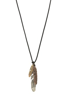 """John Varvatos Collection Sterling Silver, Bronze & Brass Artisan Metals Feather Cluster Necklace, 24"""""""