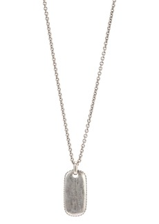 """John Varvatos Collection Sterling Silver Dog Tag Pendant Necklace, 24"""""""