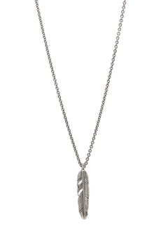 """John Varvatos Collection Sterling Silver Feather Pendant Necklace, 24"""""""