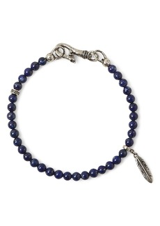 John Varvatos Collection Sterling Silver Mercer Lapis Beaded Feather Charm Bracelet