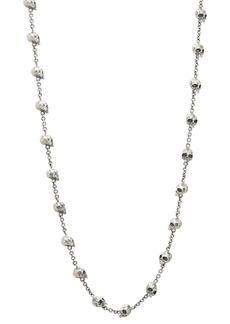 "John Varvatos Collection Sterling Silver Skull & Daggers Skull Bead Link Necklace, 24"""