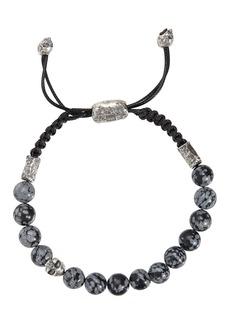 John Varvatos Collection Sterling Silver Skull & Gray Obsidian Bead Adjustable Bracelet