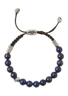John Varvatos Collection Sterling Silver Skull & Lapis Bead Adjustable Bracelet