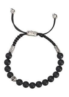 John Varvatos Collection Sterling Silver Skull & Onyx Bead Adjustable Bracelet