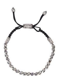 John Varvatos Collection Sterling Silver Skulls & Daggers Beaded Leather Cord Bracelet