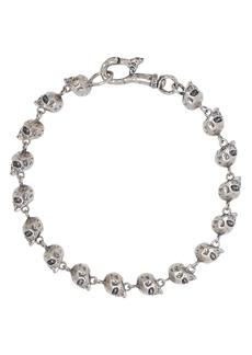 John Varvatos Collection Sterling Silver Skulls & Daggers Skull Bead Link Bracelet