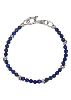 John Varvatos Collection Sterling Silver Skulls & Lapis Bead Bracelet