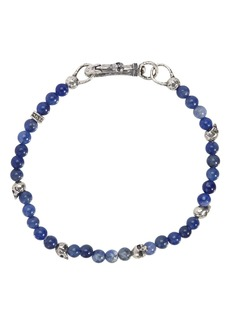 John Varvatos Collection Sterling Silver Skulls & Sodalite Bead Bracelet