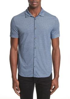 John Varvatos Collection Cotton Blend Short Sleeve Woven Shirt