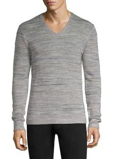 John Varvatos Intarsia Tuck Stitch V-Neck Sweater