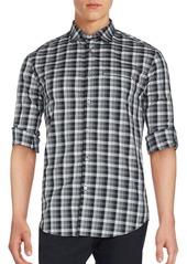 John Varvatos Long Sleeve Plaid Sportshirt