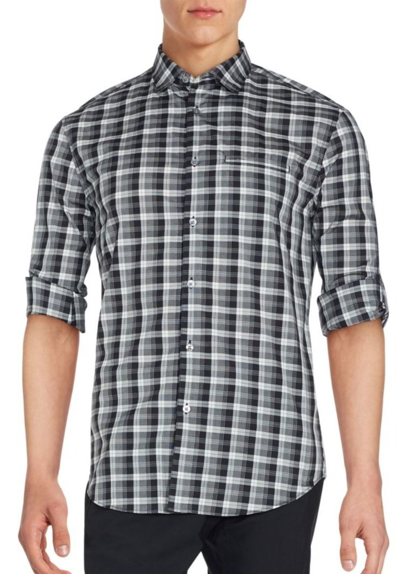John Varvatos Long Sleeve Plaid Sportshirt
