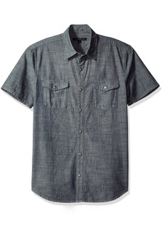 John Varvatos Men's Chambray Short Sleeve Slim Fit Shirt