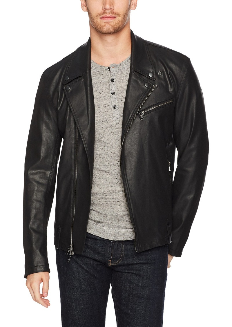 John Varvatos Men's Coated Moto Jacket with Asymmetrical Zip Closure