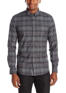 John Varvatos Men's Grey Check Sport Shirt