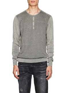 John Varvatos Men's Mixed-Knit Cotton-Blend Henley