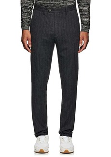 John Varvatos Men's Pinstriped Crinkled Cotton-Wool Trousers