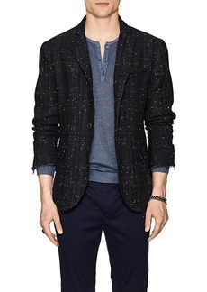 John Varvatos Men's Plaid Linen-Blend Four-Button Sportcoat