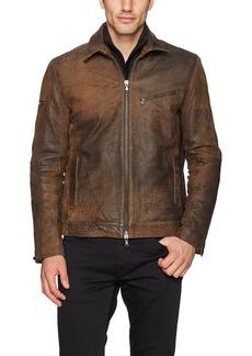 John Varvatos Men's Zip Front Leather Jacket