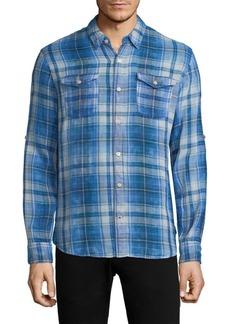 John Varvatos Plaid Roll Sleeve Sportshirt