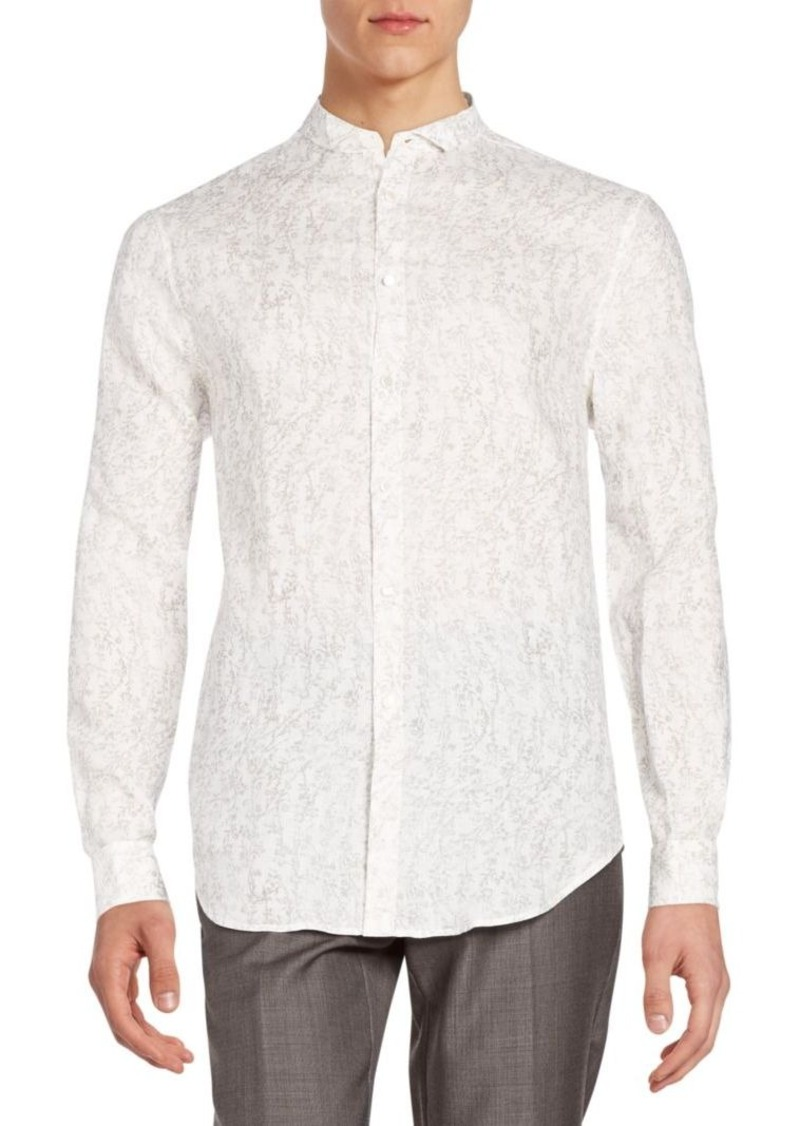 John Varvatos Regular-Fit Linen Wing Collar Sportshirt