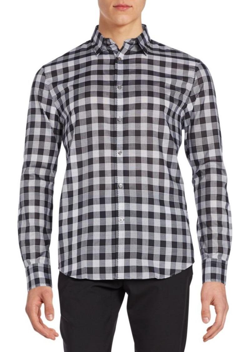 John Varvatos Regular-Fit Plaid Cotton Sportshirt