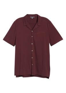 John Varvatos Slim Fit Short Sleeve Button-Up Knit Camp Shirt