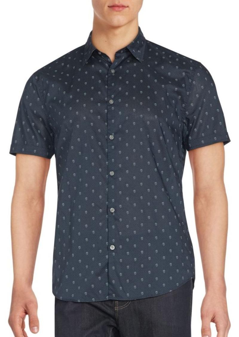 John Varvatos Short Sleeve Dotted Skull Graphic Sportshirt