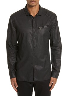 John Varvatos Collection Slim Fit Coated Snap Shirt
