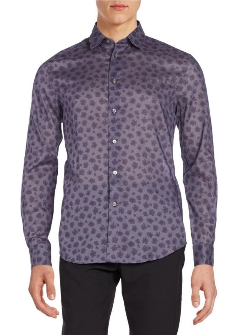 John Varvatos Slim-Fit Printed Cotton Sportshirt