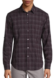 John Varvatos Slim-Fit Wrinkle Plaid Shirt