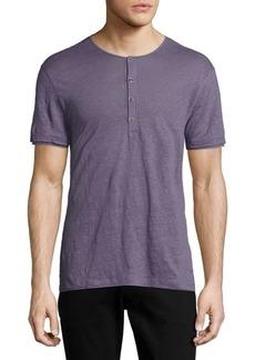 John Varvatos Solid Short Sleeve Henley Shirt