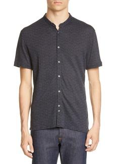 John Varvatos Spatter Print Band Collar Button-Up Knit Shirt